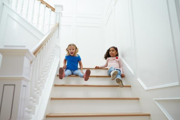 Children playing on the stairs